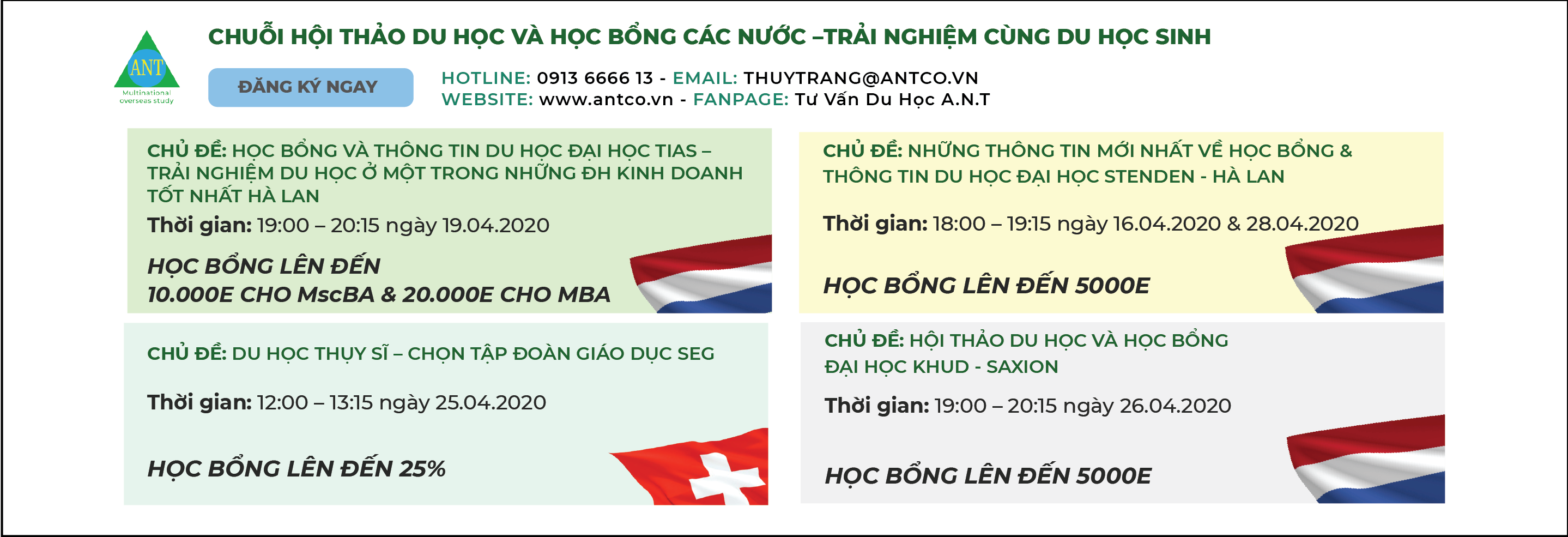 Lịch hội thảo ANT Tháng 4/2020